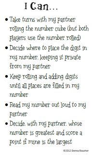 Math Coachs Corner: Getting Math Work Stations Off the Ground. Here's an easy activity for place value.  All you need is a recording sheet for each player, a number cube, and the I Can card.  There are 3 versions of the recording sheet for 6-, 9-, and 12-digit numbers.