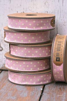 pink and white polka dots ribbons