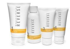 Erase the signs of premature aging, including brown spots, dullness, and sun damage with REVERSE. REVERSE Regimen exfoliates, lightens, brightens and protects your skin for a more even tone and texture.