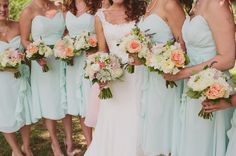 Rustic Mint Green And Coral Orchard Wedding Part 1 | Bridal Musings. This is perfect. But maybe Pale Pink instead? Or a lighter coral.