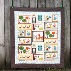 Baby quilt made from Critter Community panel