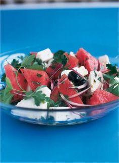 watermelon, feta and black olive salad - Nigella