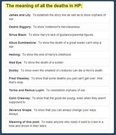 the meaning of all deaths in HP
