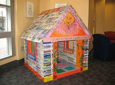 Playhouse made of discarded books