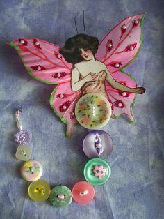Spring Button Fairy button fairi, button galor, button booti, spring button