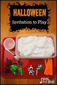 Halloween Invitation to Play - Shaving cream and Halloween toys provide a fun sensory experience for kids to explore.