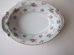 Vintage Rosemere Pink and Gray Floral Serving Bowl by thechinagirl, $23.50