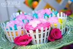Girl's birthday party: picket fence cupcake liners for a garden theme