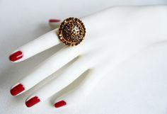 swarovski crystal adjustable gold plated ring brown crystal swarovski wedding jewelry bridal jewelry bridesmaid gift on Etsy, 25,00$