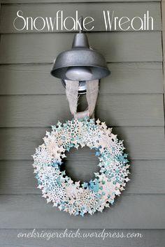 DIY Snowflake Wreath diy snowflak, snowflak wreath