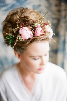 Pink Floral Wedding Halo - Katie Stoops Photography