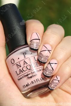 Lace konad nails