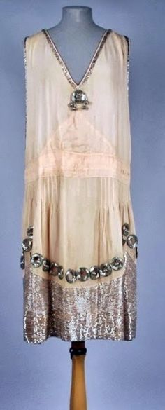 Dress - 1926 - Peach silk chiffon with silver beading - American Textile History Museum - @~ Mlle