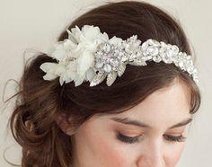 Bridal Rhinestone Crystal and Silver Leaf Headpiece, Ivory chiffon petals