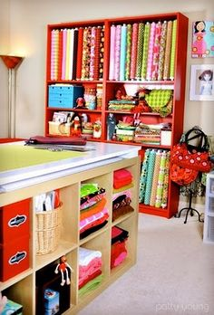 Sewing room- Fabric storage ideas. Sewing table