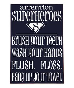 Take a look at this Navy & White Superhero Bathroom Wall Art by Vinyl Crafts on #zulily today!