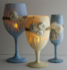 Shabby Chic Crackle Paint Wine Glass Tea Lite by DanielsVintage, $12.00