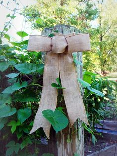 Rustic Burlap Wedding Decorations Bow Pew Bow by TwiningVines, $8.00