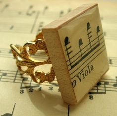 Vintage music scrabble tile ring