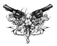 Antique Colt Revolver Tattoos  Tattoo5com but with a star in the middle and less girly my hubbys idea for the kids he calls his boys pistols and his daughter was born on the 4th of july so the star is for her