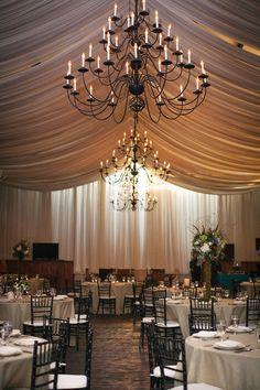 Tented Reception + Grand Chandelier I Orangerie Events I #receptiondecor #venuedecor