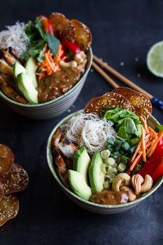 Vietnamase Chicken, Avocado + Lemongrass Spring Roll Salad