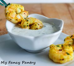 Indian Spiced Shrimp with Garlic and Cilantro Yogurt Sauce, shrimp appetizers, healthy shrimp recipes, high protein low carb recipes