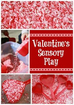 Simple Valentine's sensory play with colored rice.  Perfect for little hands to work on hand eye coordination and fine motor skills.