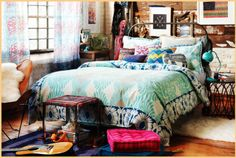 interior, boho chic, bedroom decor, urban outfitters, dream, color, tiny spaces, dorm rooms, bohemian bedrooms