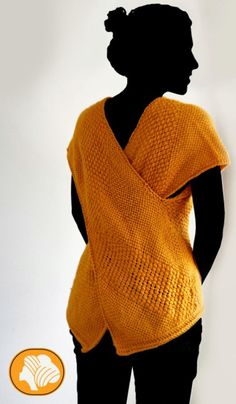 Yoga sleeveless ocher sweater by Ullvuna on Etsy, $120.00 Just a large square with two equally long rectangles each over half, sewn together. You could even double knit it so it is reversible.