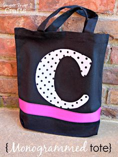 Monogrammed Tote with Silhouette Fabric Interfacing {tutorial}
