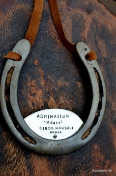 The Stall Name Plate Upcycled Horseshoe for Stall by SycamoreHill, $68.00