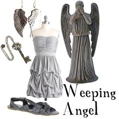 fashion, weep angel, halloween costumes, the dress, doctor who, flat shoes, inspired outfits, everyday outfits, weeping angels