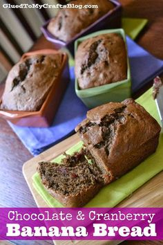 Chocolate & Cranberry Banana Bread via @Stacey Gibbon (Glued To My Crafts) // #banana #bananabread  #Recipe