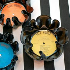 """finally: a way to upcycle those old thrift store records I picked up as a teen :)  -- """"tutorial on how to use an oven to make bowls out of vinyl records"""""""
