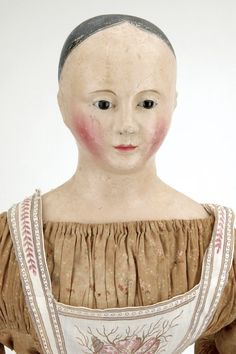 Large French Papier Mache Lady with Glass Eyes