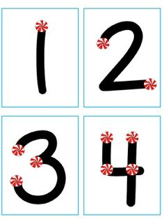 Free touch point number cards with peppermints.  Cute, for the holidays!