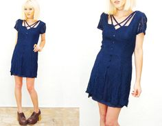Stunning vintage 90s navy lace dress. Looks Great on! Attached lining ( with intentionally ripped hemline for that grungy 90s look.  Absolutely fab