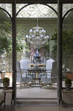 Beautiful treillage in this solarium. Cathy Kincaid Interiors.