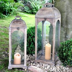 Beautiful washed out lanterns for relaxing the garden