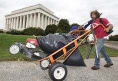 the regular guy who volunteered to mow the lawn of the Lincoln Memorial today in Washington DC. The memorial to honor President Abraham Lincoln, has been left unattended because of the government shutdown! He said he just wanted to honor Lincoln.