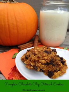 Pumpkin Chocolate Chip Oatmeal Cookies are gluten free and perfect for Autumn.