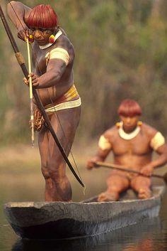 Indigenous People fishing - Yaulapiti indigenous People -Xingu, Amazon rainforest, Brazil.