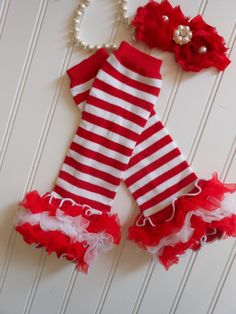 Christmas Baby Leg Warmers and Matching Christmas by Asweetlullaby, $15.95