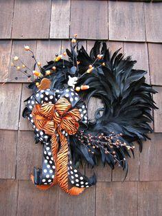 Black & Orange Feather Wreath