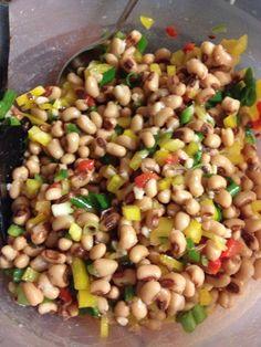 "Newk's ""Tippah County Caviar"": 3 cans black eyed peas, 1 yellow bell pepper, 4 green onions, 1 jalapeño (seeded), small jar pimentos; mix 1/2 cup canola oil, 1/2 cup red wine vinegar, 1/2 Tbsp Louisiana hot sauce, garlic powder, salt & pepper. Mix into bean mixture. AMAZING!"