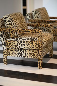 leopard chair with black and white stripe floor