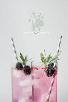 Blackberry and sage spritzers