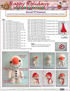 Free Crochet Pattern Amigurumi Snowman By Gurumiorama On Etsy