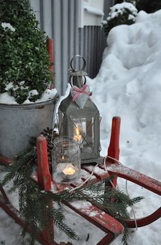 holiday, winter, outdoor christmas decorations, christmas lanterns, christma decor, country christmas, candl, sled, front porches